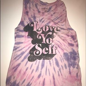 Fifth Sun Love Yo Self Purple Tye Dye Muscle Tank